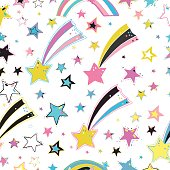 Vector cute seamless background. Magic stars, comets, meteors.