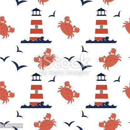 istock Vector cute seamless pattern with lighthouse, seagull, crab in Scandinavian style for fabrics, paper, textile, gift wrap isolated on white background 1304944240