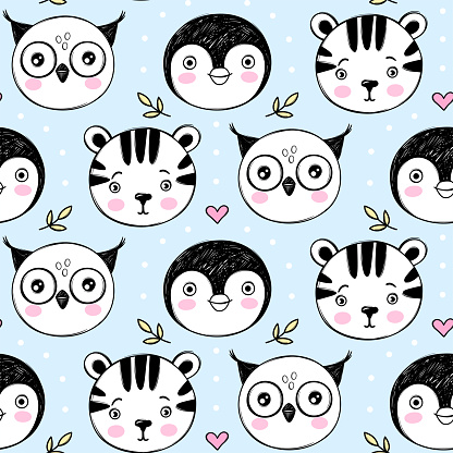Vector cute seamless pattern with tiger, penguin, owl illustrations. Cartoon hand drawn texture with baby animal characters.