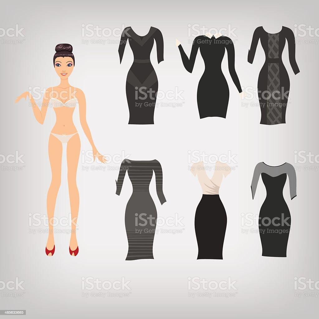 Vector bonito vestir-se boneca de papel simples - ilustração de arte vetorial