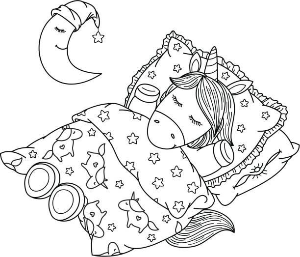 ilustrações de stock, clip art, desenhos animados e ícones de vector cute, sleeping  unicorn in bed, black silhouettes for coloring. - unicorn bed