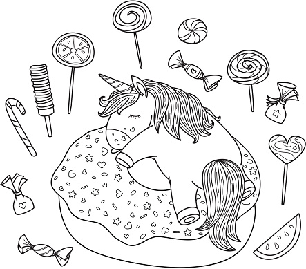Vector cute, sleeping  unicorn on donut and sweets elements.
