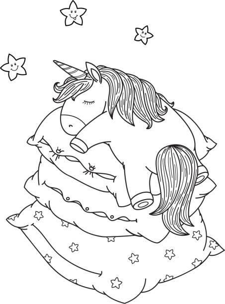 ilustrações de stock, clip art, desenhos animados e ícones de vector cute, sleeping  unicorn on pillows, black silhouettes. - unicorn bed