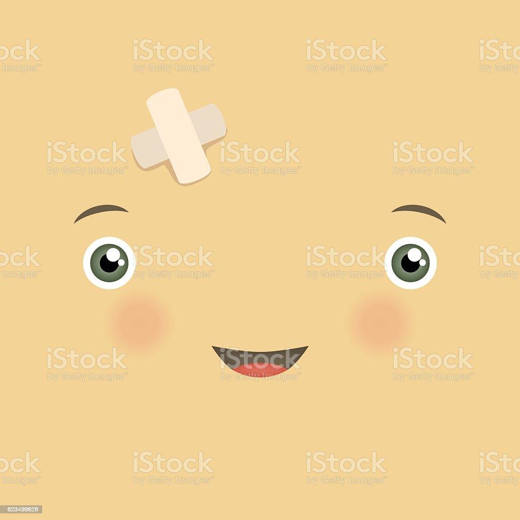 Vector cute smiley face emotion. vector art illustration