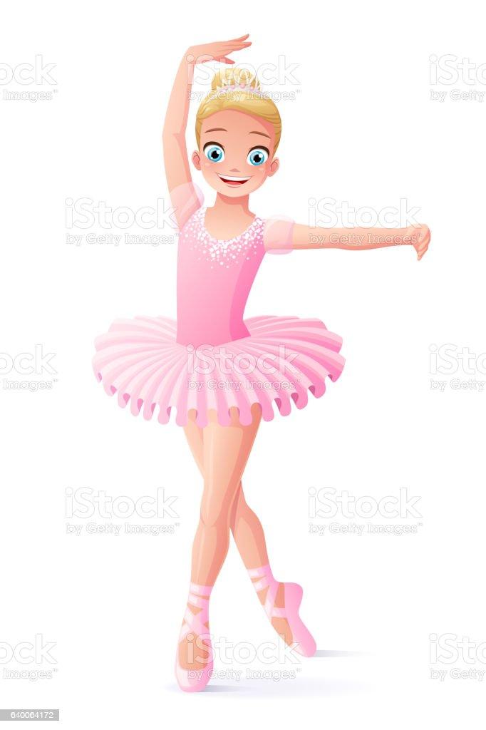 Vector cute smiling young dancing ballerina girl in pink tutu. 벡터 아트 일러스트
