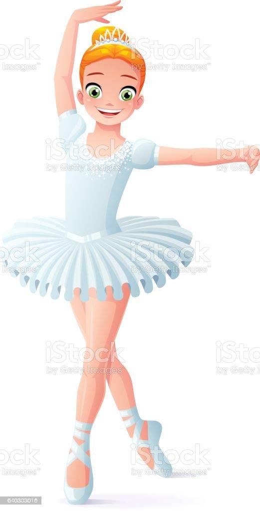 Vector cute smiling young dancing ballerina girl in white tutu. vector art illustration