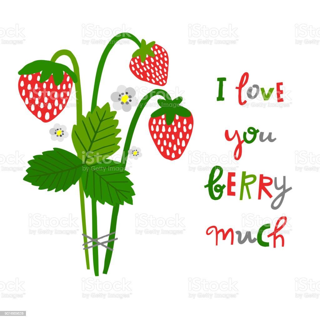 Ilustración de Planta De Fresa Lindo Vector Y Berry Ilustración De ...
