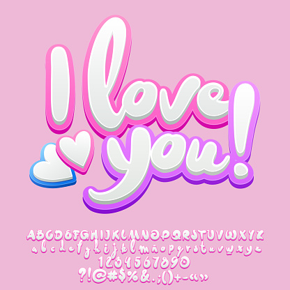 Vector cute tender Greeting Card I Love You with Hearts