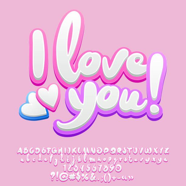 ilustraciones, imágenes clip art, dibujos animados e iconos de stock de vector lindo tierno saludo tarjeta i love you con corazones - tipos de letra y tipografía