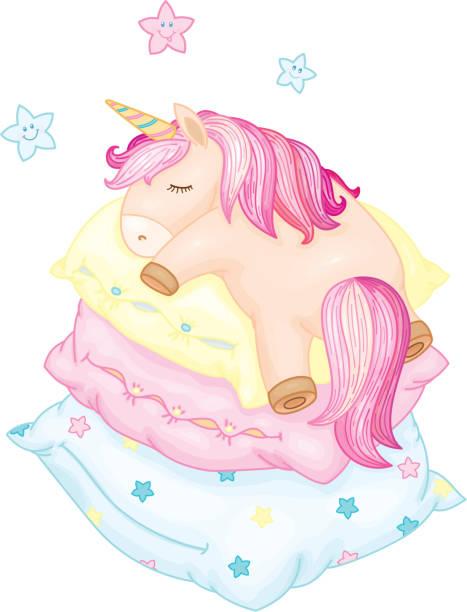 ilustrações de stock, clip art, desenhos animados e ícones de vector cute, unicorn cartoon sleeping  on pillows. - unicorn bed