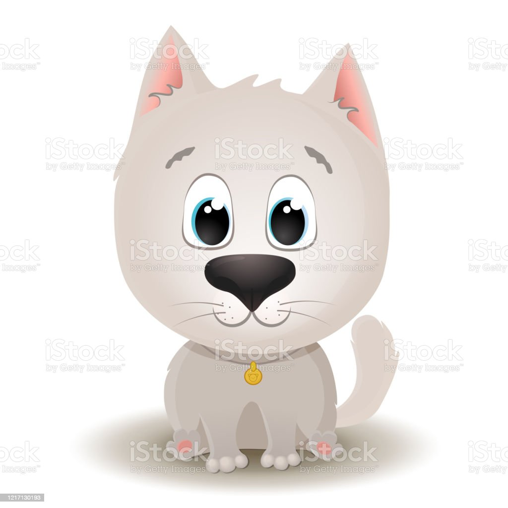 Vector Cute White Cat With Big Eyes In Cartoon Style Flat