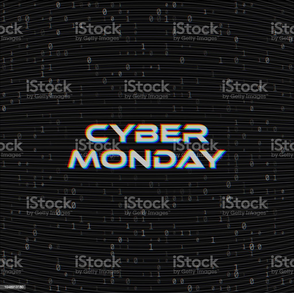 Vector Cyber Monday Sale Web Banner On Binary Code Dark