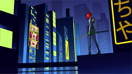 Vector Cyberpunk Superhero Assassin in a City at Night Stock Illustration