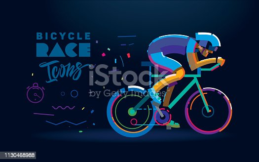 Vector cyclist. Cycling race illustration. Flat style