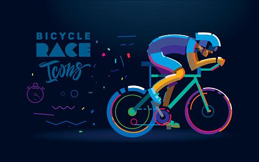Vector cyclist. Cycling race illustration