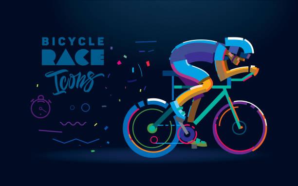 bildbanksillustrationer, clip art samt tecknat material och ikoner med vector cyklist. cykel race illustration - cykla