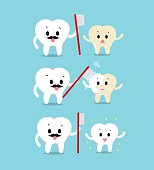 Vector of Dad helping brushing their son tooth concept Health care, healthy white teeth family