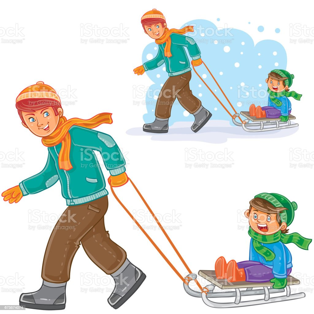 Vector Dad Older Brother Dragging Sled With Little Boy Stock Vector ...