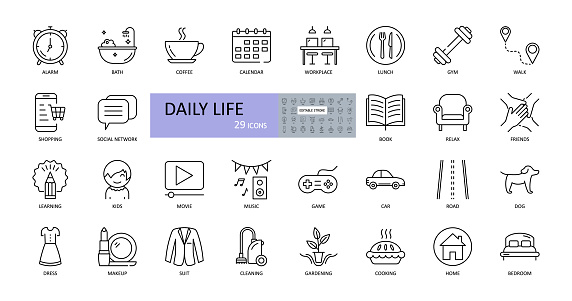 Vector daily life icons. Editable Stroke. Daily routine, home, work, children, entertainment, sports, food and cooking, car, road, pets, shopping, clothes, cleaning, gardening, reading.