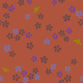 Vector botanical seamless pattern. Blooming small sakura flowers and bees. Simple plane floral  background. Good for textile, fabric, fashion design and wallpaper,