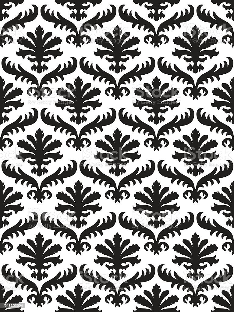 Vector Damask Seamless Floral Pattern Black And White Background
