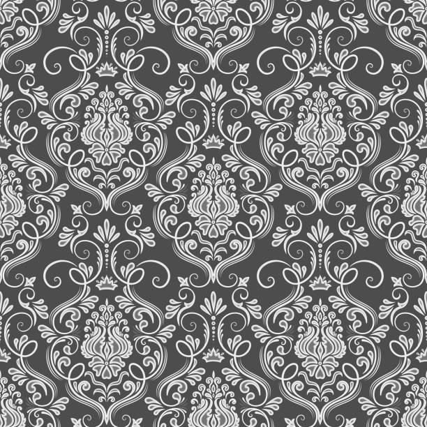 向量錦緞無縫模式背景。古典豪華老式錦緞飾品, 皇家維多利亞無縫紋理的壁紙, 紡織品, 包裝。精美的花卉巴羅克式範本。 - 錦緞 幅插畫檔、美工圖案、卡通及圖標