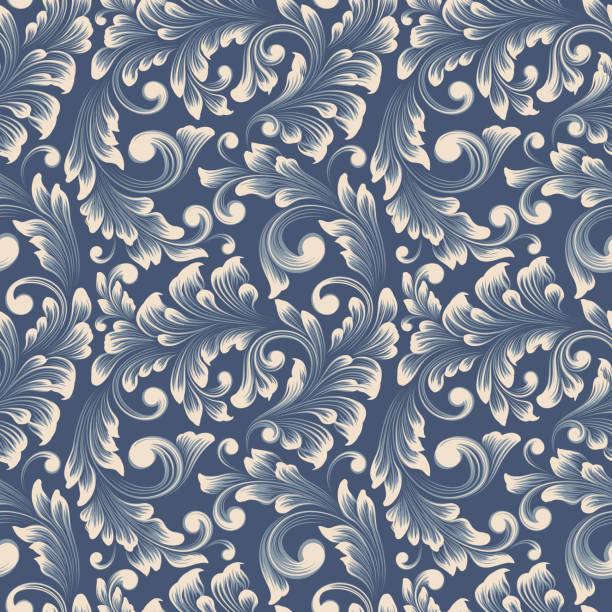 vector damask nahtlose musterhintergründe. klassischer luxus altmodischen damast-ornament, königlich-viktorianische nahtlose textur für tapeten, textil, verpackung. exquisite blumige barockvorlage. - plüschmuster stock-grafiken, -clipart, -cartoons und -symbole