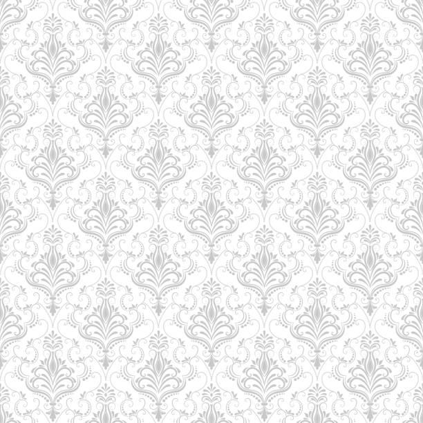 向量錦緞無縫圖案背景。古典奢華的老式錦緞裝飾, 皇家維多利亞風格的無縫紋理牆紙, 紡織品, 包裝。精緻的花巴羅克範本。 - 錦緞 幅插畫檔、美工圖案、卡通及圖標