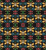 Vector damask seamless pattern background colorful curve spiral vortex cross leaf flower