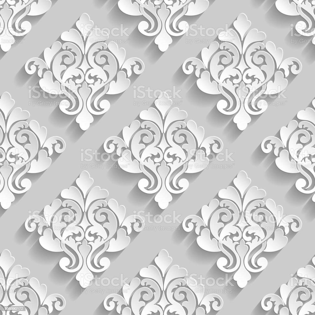 Vector Damask Seamless Pattern Background Elegant Luxury ...
