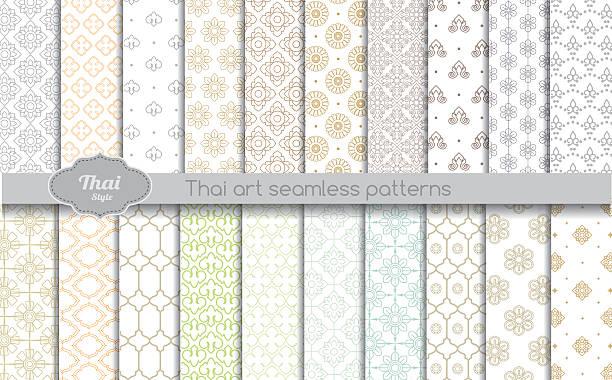 vector damask seamless pattern background. thai style seamless pattern - 泰國 幅插畫檔、美工圖案、卡通及圖標