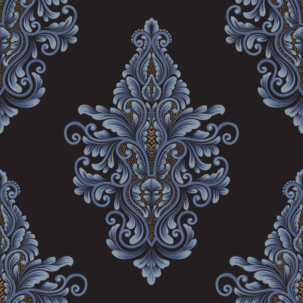 vector damask nahtloses musterelement. klassischer luxus altmodischen damast-ornament, königlich-viktorianische nahtlose textur für tapeten, textil, verpackung. exquisite blumige barockvorlage. - plüschmuster stock-grafiken, -clipart, -cartoons und -symbole