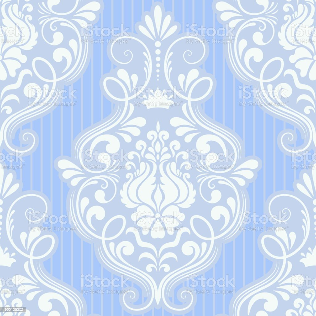 Vector damask seamless pattern element. Classical luxury old fashioned damask ornament, royal victorian seamless texture for wallpapers, textile, wrapping. Exquisite floral baroque template. – artystyczna grafika wektorowa