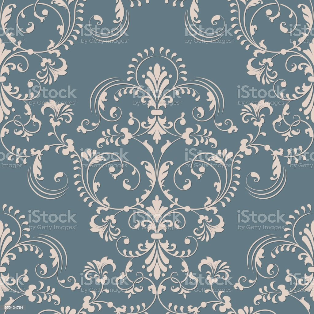 Vector damask seamless pattern element. Classical luxury old fashioned damask ornament, royal victorian seamless texture for wallpapers, textile, wrapping. Exquisite floral baroque template. - Grafika wektorowa royalty-free (Adamaszek)