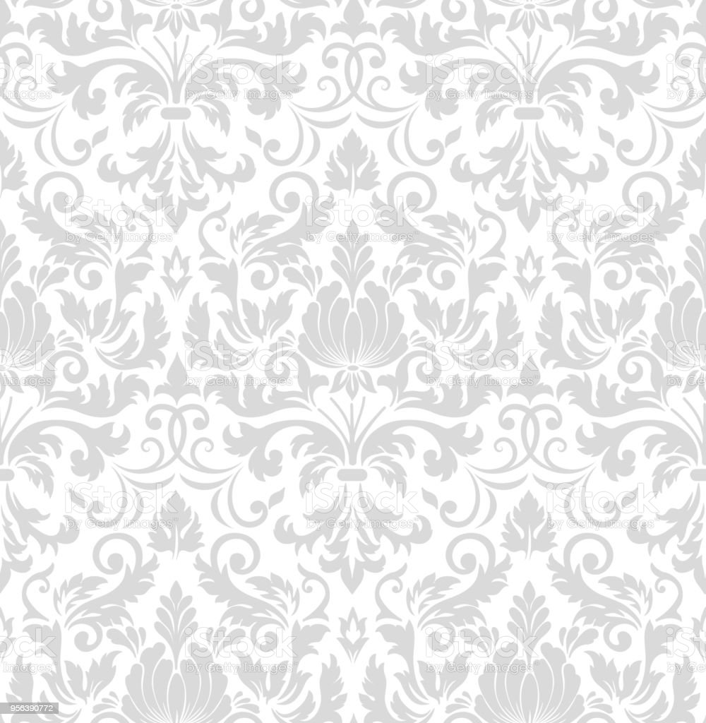 Vector damask seamless pattern element. Classical luxury old fashioned damask ornament, royal victorian seamless texture for wallpapers, textile, wrapping. Exquisite floral baroque template. - Royalty-free Antique stock vector