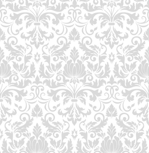 illustrazioni stock, clip art, cartoni animati e icone di tendenza di vector damask seamless pattern element. classical luxury old fashioned damask ornament, royal victorian seamless texture for wallpapers, textile, wrapping. exquisite floral baroque template. - sfondo retrò e vintage