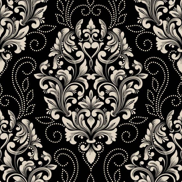 向量錦緞無縫圖案元件。古典奢華的老式錦緞裝飾, 皇家維多利亞風格的無縫紋理牆紙, 紡織品, 包裝。精緻的花巴羅克範本。 - 錦緞 幅插畫檔、美工圖案、卡通及圖標