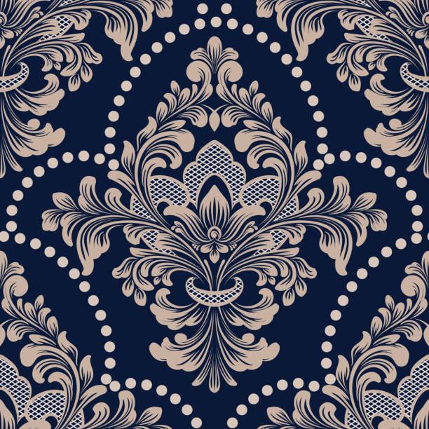 damast musterdesign vektorelement. klassische luxus alte altmodische damast ornament, königlichen viktorianischen nahtlose textur für tapeten, textilien, verpackung. exquisite floral barock vorlage. - plüschmuster stock-grafiken, -clipart, -cartoons und -symbole