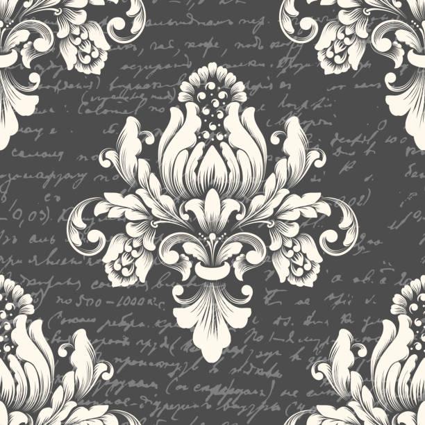 向量錦緞無縫圖案元素與古代文字。古典奢華的老式錦緞裝飾, 皇家維多利亞時代的無縫紋理牆紙, 紡織品。精緻的花巴羅克範本。 - 錦緞 幅插畫檔、美工圖案、卡通及圖標