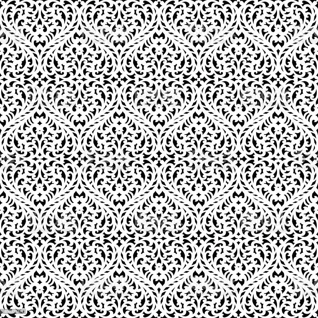 Vector damask seamless pattern vector art illustration