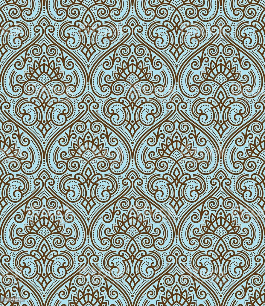 Vector damask seamless pattern vector art illustration