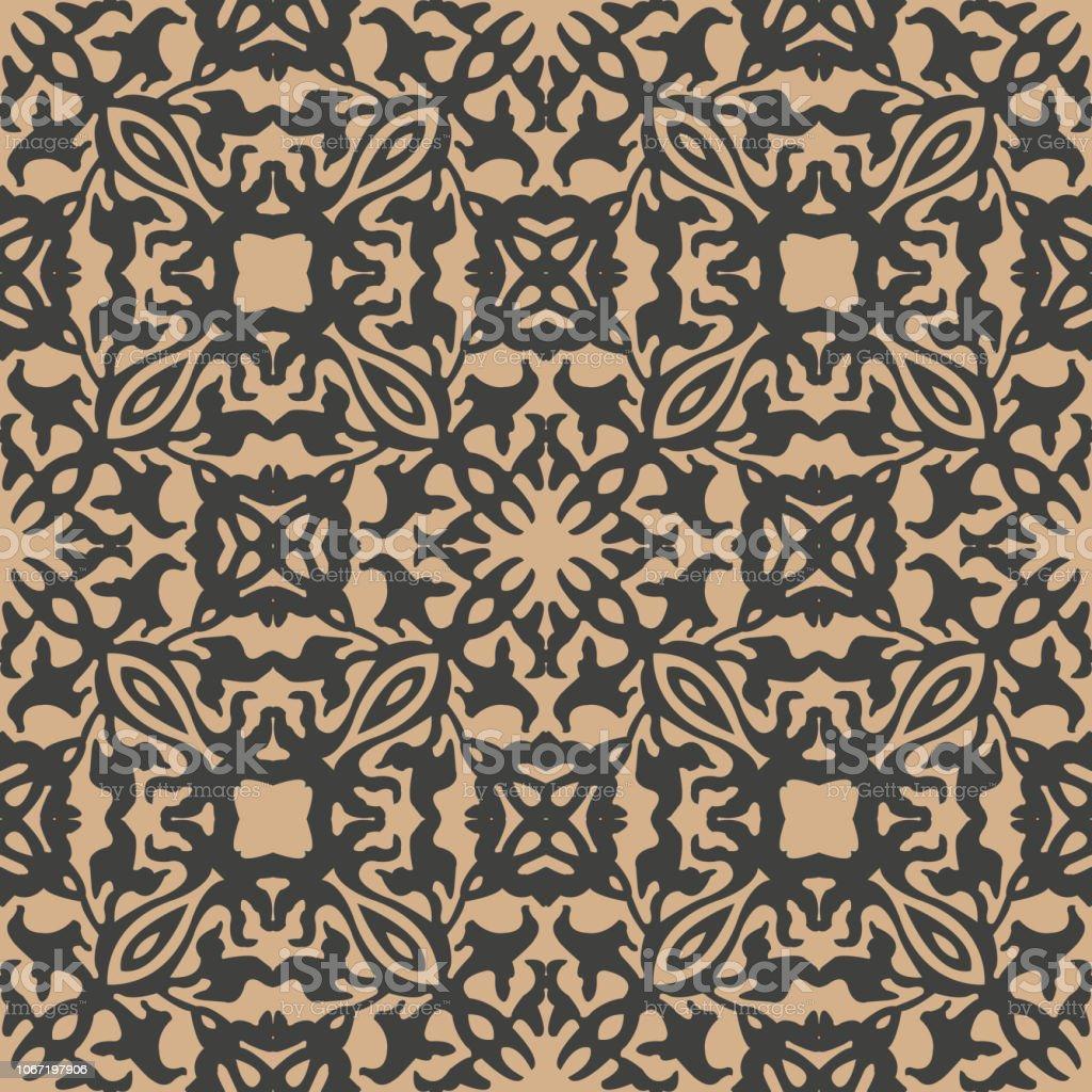 Damasco vector transparente patrón retro fondo botánico la curva Cruz planta vid marco flor caleidoscopio - ilustración de arte vectorial