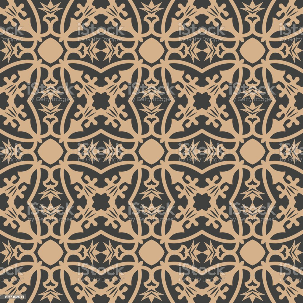 Curva de fondo sin fisuras patrón retro de Damasco vector Cruz jardín botánico planta enredadera de marco de flores - ilustración de arte vectorial