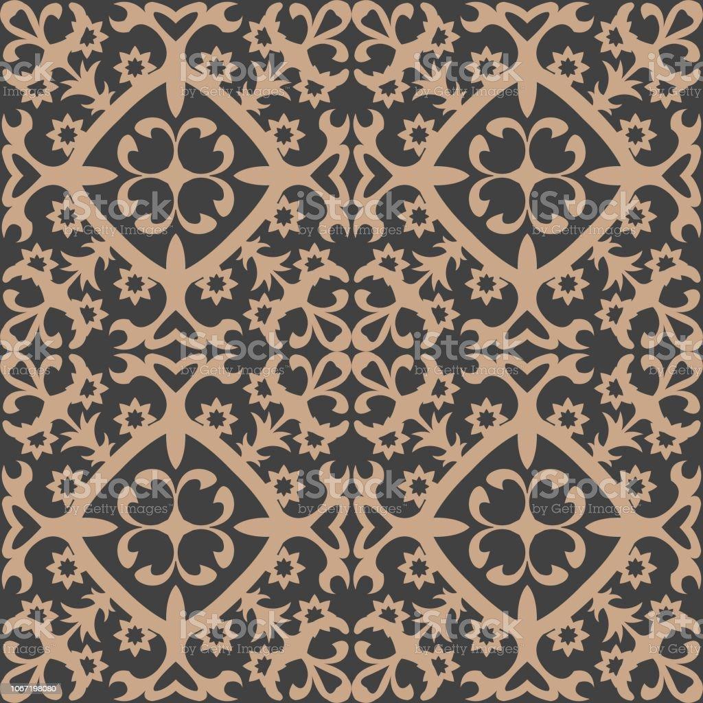 Vid de Damasco vector transparente patrón retro fondo espiral jardín botánico planta flor hoja - ilustración de arte vectorial