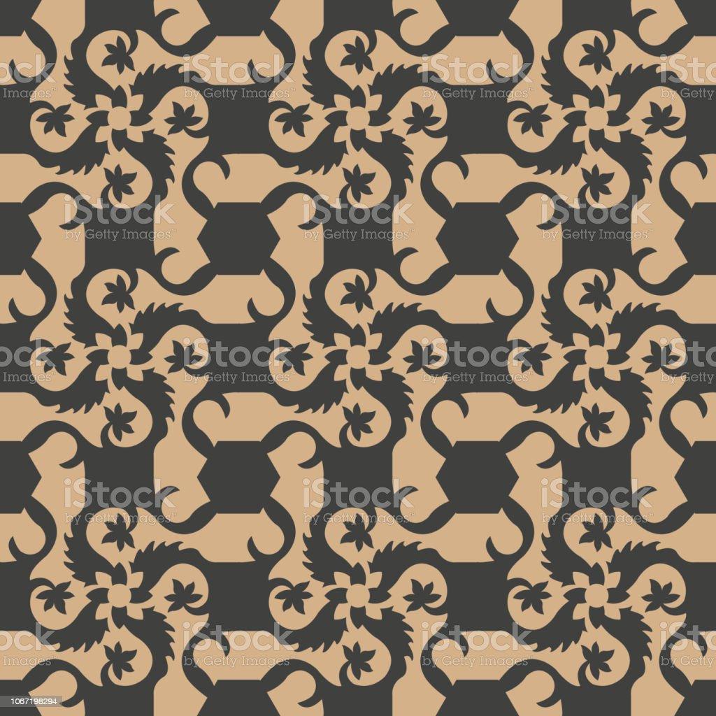 Torbellino de espiral Damasco vector transparente patrón retro fondo Cruz jardín botánico de la vid de hoja marco flores - ilustración de arte vectorial