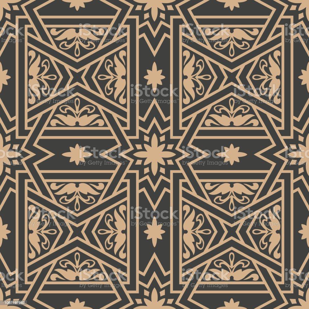 Geometría de estrellas de fondo de patrones sin fisuras retro de Damasco vector Cruz marco botánico flor - ilustración de arte vectorial