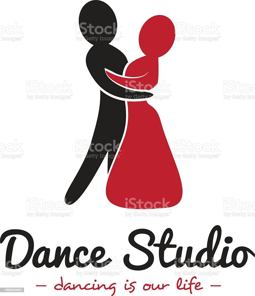 Vector dance studio logo. Dancing couple logotype vector art illustration
