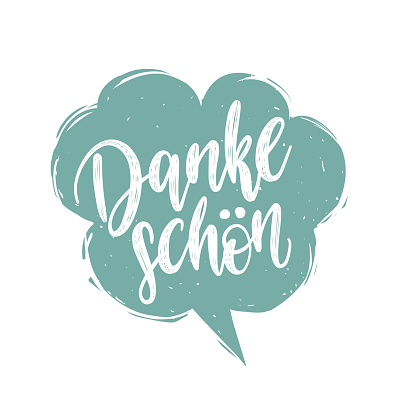 Vector Danke Schon calligraphy, german translation of Thank You phrase. Hand lettering in speech bubble.