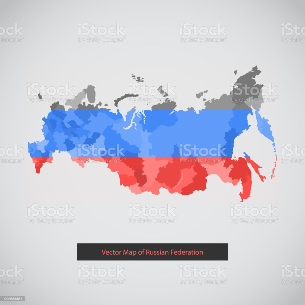 Vector dark background illustration of Russian federation vector art illustration