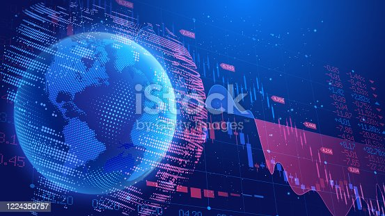 Vector. Dark blue background. World economic crisis. Oil product prices. Planet Earth on the background of a scoreboard with indicators of trade indices on the stock exchanges. Halftone effect.